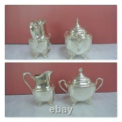 1847 Rogers Bros Silver Plate Daffodil Coffee/Tea Set Service 5 Pieces WithTray