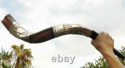 30 SILVER Plate Jewish SHOFAR Kudu Horn wIth Star of David & Jerusalem Menorah
