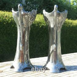 A Pair of WMF Secessionist / Jugendstil / Art Nouveau Electro Plated Posy Vases