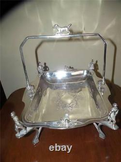 ANTIQUE FIGURAL SILVER PLATE BASKET With DOG FINIAL SOLDIERS & BIRDS 11 X 8.75