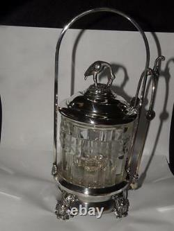 ANTIQUE PICKLE CASTER SILVER PLATE & CRYSTAL crane FINIAL silverplate hand tongs
