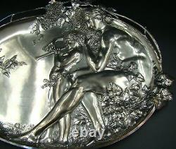 ART NOUVEAU WMF Silver Plated Figural Wall Plaque Tray Mother & Child, ca 1890