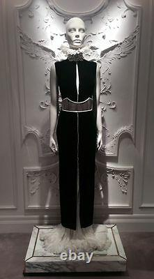 Alexander McQueen Dress Cathedral Silver Plate Belt, Black/Silver size/30