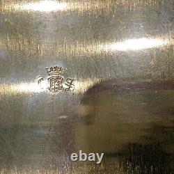 Antique 1940's Square Silver-plated Footed/Handled Serving Tray by Continental B