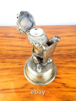 Antique 19th C Victorian British Silver Plate Inkwell Crowned Lion Rampant 1870s