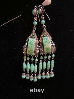 Antique Art Deco Neiger Peking Glass and Marcasite Silver plate earrings