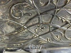 Antique Art Nouveau Repousse Silver Plate Casket Dresser Box Cherubs Maidens WOW