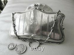Antique Art Nouveau Silver Plate Metal Pinstripe Clam Lined Purse EPNS EI