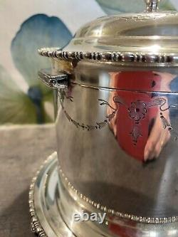 Antique Atkin Bothers Silver Plated Biscuit Barrel Circa 18th Century