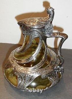 Antique Claret/ Pitcher Jug Art Nouveau, silver plate over amber glass