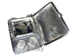 Antique Dance Chatelaine Purse Compact Mirror Silver Plate Sterling Pencil WM Co
