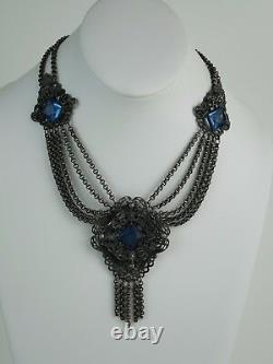 Antique Edwardian c1910 Filigree Festoon Necklace Silver Plate Blue Glass, 63.3g