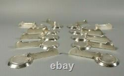 Antique French ART DECO Hallmarked Silver Plated Knife Rest Set of 12 Modernist
