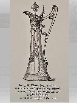 Antique GERMANY JUGENDSTIL ART NOUVEAU SILVER PLATE CLARET JUG EWER DECANTER WMF