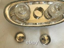 Antique Inkwell Silver Plate On Copper Sheffield 2 Bottles Georgian Bowl Unmarke