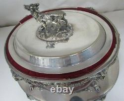 Antique James Dixon Silver Plated Tureen Stand Rams Head Deer Stag Claw Ball