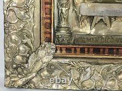 Antique LAST SUPPER Metal Relief Silver Plate Religious Christian Wall Art Decor