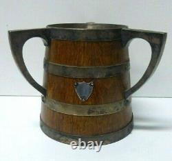 Antique Oak Barrel Loving Cup Champagne Bottle Ice Bucket Silver Plate Trophy