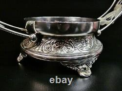 Antique PAIRPOINT MF'G. CO Silver Plate Brides Basket with Pink Crest Ruffle Bowl