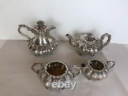 Antique Sheffield/sheffield Style Silver Plated Melon Shape 4 PICES Tea Set
