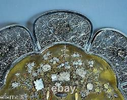 Antique Shibayama Export Solid Silver Plate Japan Japanese Meiji 1900
