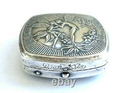 Antique Silver Plate Art Nouveau Ladies Compact by DJER KISS Fairies