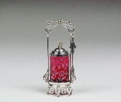 Antique Silver Plate Pickle Castor With Fenton Cranberry Opalescent Glass Insert