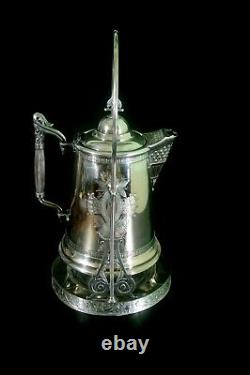 Antique Silver Plate Tilting Pitcher Water Coffee Tea Ornate Late 1800's