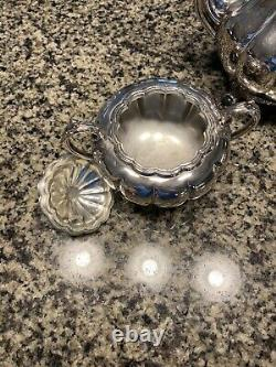 Antique Silver Plated 3PC Tea or Coffee Set Melon Sheffield community Repro
