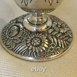 Antique Trophy / Loving Cup Meriden Silver Plate Engraved Floral Base