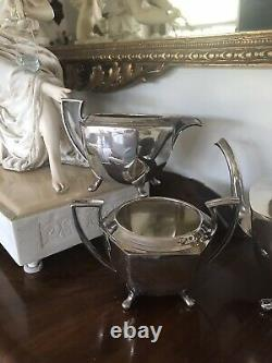 Antique Vintage Benedict Silver Plate Tea Pot Creamer Sugar Art Deco Set