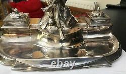 Antique WMF Jugenstil Silver Plate Desk Pen Ink Stand Inkwell Mercury Hermes God