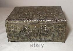 Antique ornate silver plate brass Dutch figural dresser cigar humidor vanity box