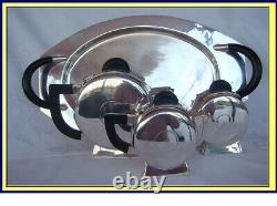 Art Deco Teaset Tray Teapot Milk Jug Sugar Bowl Silver Plate Bakelite (3951)