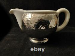 Art Deco WMF BAUHAUS Hammered Silver Plate on Porcelain Tea and Coffee Services