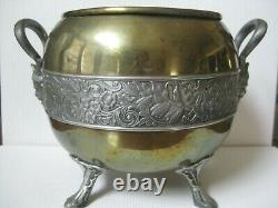 Art Nouveau Brass Jardiniere Chase Silver Plate Floral Band Footed Satyr Handles