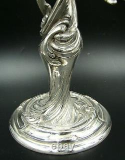 Art Nouveau French Christofle Silver Plate Large Candelabra Candlestick Pair