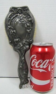 Art Nouveau Lovely Maiden Flowers Decorative Arts Silver Plate Hand Brush