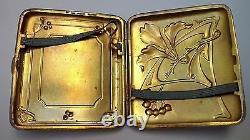 Art Nouveau Silver Plate Cigarette Case & Vesta Match Safe Matching Case ca 1890