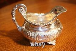 BARKER ELLIS Floral Repousse Silver plate Tea Coffee Service & Tray. Elegant
