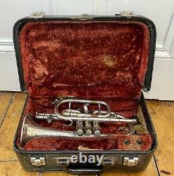 BOOSEY & Co. Antique Solbron Cornet Silver Plate Class A Light Valve With Case
