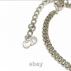 Christian Dior CD Silver Plated Padlock Chain Link Bracelet Bangle NO BOX Used 3