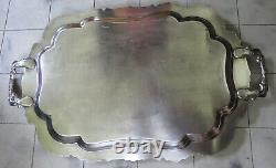 EXTRA LARGE Antique Silver Plate on Copper Tray with 2 handles 30 inches