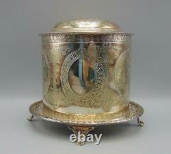 English Silver Plate Tea Biscuit Box/Jar HA EA FA EPNS Atkins Brothers Sheffi