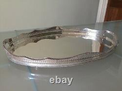 Extra Large Antique Silver Plate on Copper Gallery Serving Butlers Tray Handles