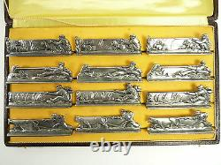 FRENCH Silver Plate Art Deco FARMYARD Scenes Set of 12 KNIFE RESTS