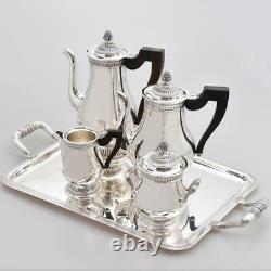 French Christofle Malmaison Silver Plated Tea Coffee Pots Set Tray Ebony Handles