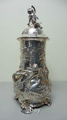 Gorgeous Antique Art Nouveau Silver Plate German Wmf Jungendstil Organic Tankard