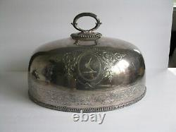 Gorgeous Antique Silver Plate Dome Food Cover Marked E&co