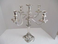 Gorham Mfg. Co. Baroque Repousse Silver Plated 5 Arm Candelabra 17 Inch